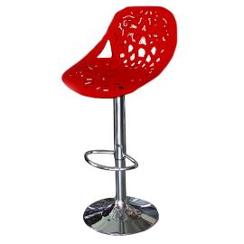 Banco para bar asiento calado rojo altura ajustable de  44x49x95-107cm