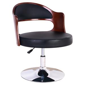 Silla para bar imitacion madera con polipiel negro ajustable de 56x60x75-86cm
