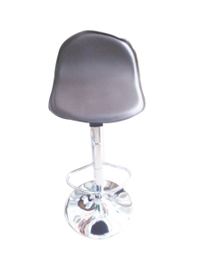 Silla de bar de polipiel cafe con altura ajustable de 35x36x73-94cm