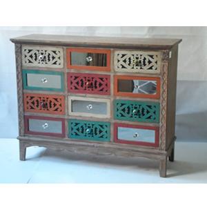 Cajonera de madera de 12 cajones labrado y en colores de 12x40x94.5cm