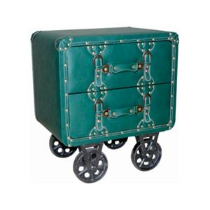 Cajonera de polipiel verde c/2 cajones y ruedas de 50x30x57.5cm