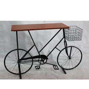 Mesa diseño Bicicleta con cubierta de madera de 130x22.5x80cm