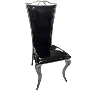 Silla de metal cromada forrada de charol negro de 110x57x54cm