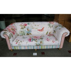 Loveseat de tela estampado de flores y mariposas de colores de 195x92x80cm
