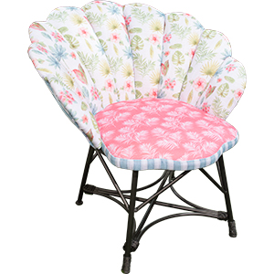 Silla tapizada de tela con diseño de flores de colores de 84x85x84cm
