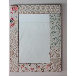 Espejo de pared rectangular con estampado de flores de 67x2x88cm