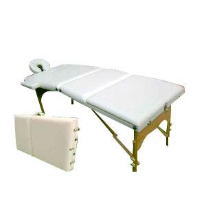 Cama para masaje portatil color crema de 195x70cm