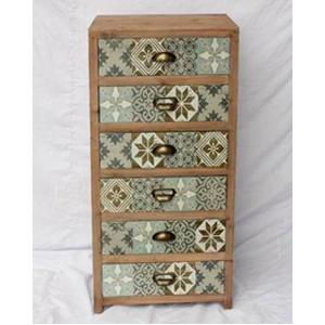 Cajonera de madera con 5 cajones y estampado de mosaicos Cafés