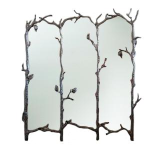 Espejo con marco diseño varas de árbol plata de 161x5x147cm