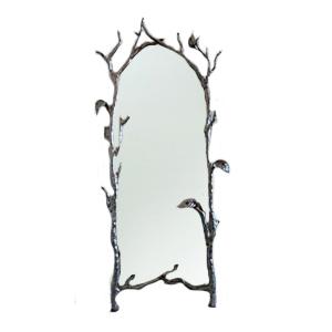 Espejo de pie con marco diseño varas de hojas plata de