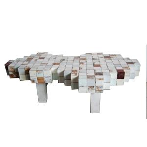 Mesa para Café blanca diseño cuadros de madera de