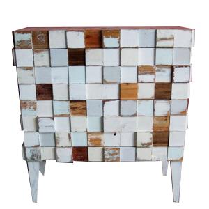 Cajonera blanco diseño cuadros de madera de