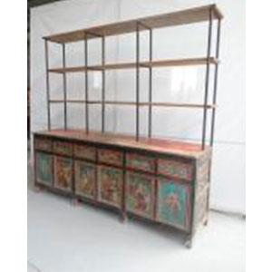Gabinete de madera diseño Vintage con 6 puertas  6 cajonesy 6 entrepaños de 240x64x230cm