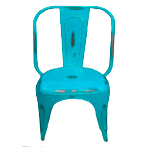 Silla de metal diseño industrial color azul turquesa 22x40x85cm