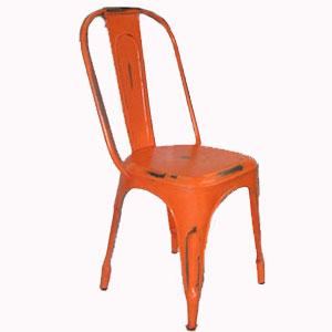 Silla de metal diseño industrial color naranja 22x40x85cm