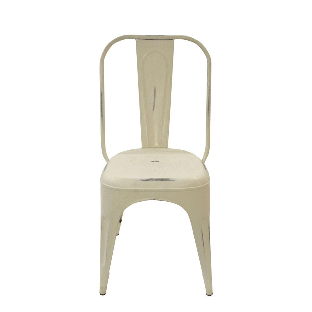Silla de metal diseño industrial color blanca 22x40x85cm