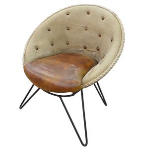Sillon redondo con respaldo capitoneado de tela gris y asiento de polipiel café de 41x41x88cm