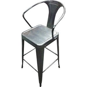 Silla de bar de metal galvanizada c/descansabrazos de 54x53x76cm