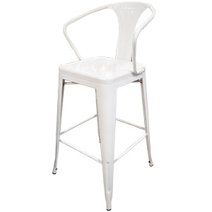 Silla de bar de metal en color blanco de 54x53x76cm