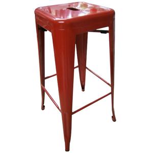 Banco de bar de metal galvanizada roja de 43x43x76cm