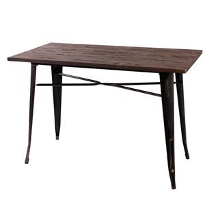 Mesa de metal c/cubierta de madera de 80x80x75cm