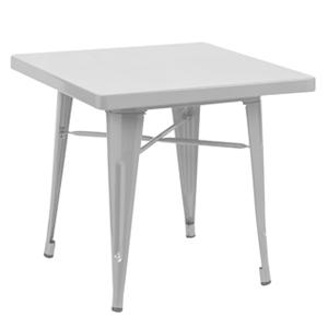 Mesa infantil de metal cuadrada blanca de 60x60x45cm