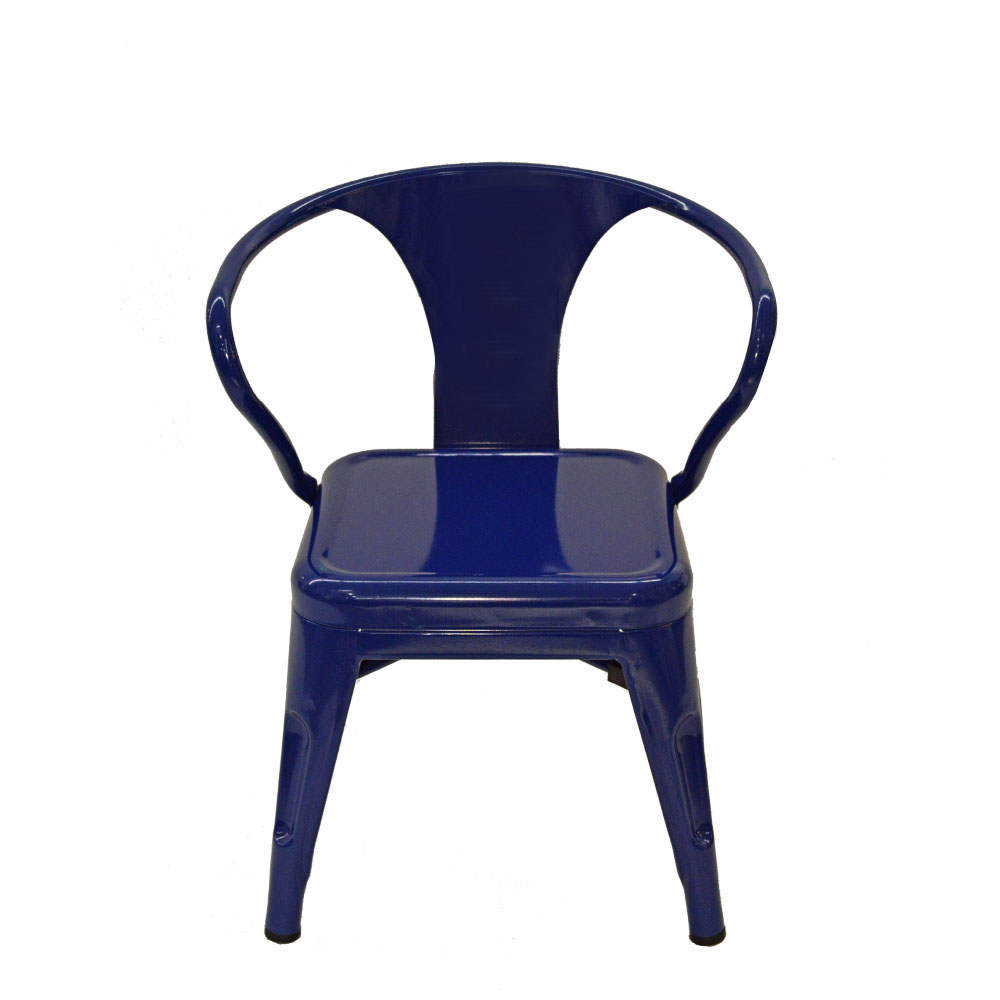 Silla infantil de metal galvanizada con descansabrazos azul de 32x32x45cm