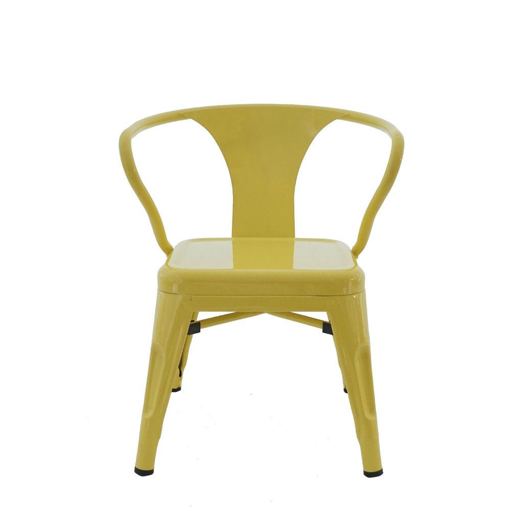 Silla infantil de metal galvanizada con descansabrazos amarilla de 32x32x45cm