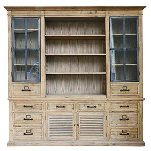 Vitrina de madera blanca con 4 puertas y 10 cajones terminado antiguo de 230x50x230cm