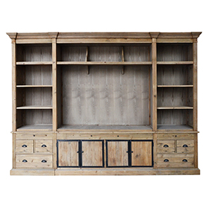 Mueble pata TV de madera blanca terminado antiguo con 6 cajones y 4 puertas de 310x50x220cm