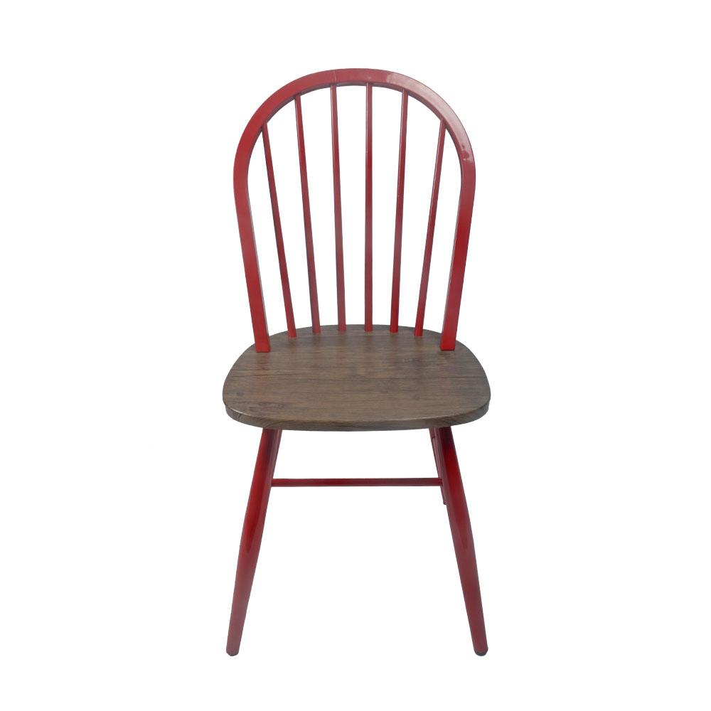 Silla de metal roja con asiento de madera de 48x46x92cm