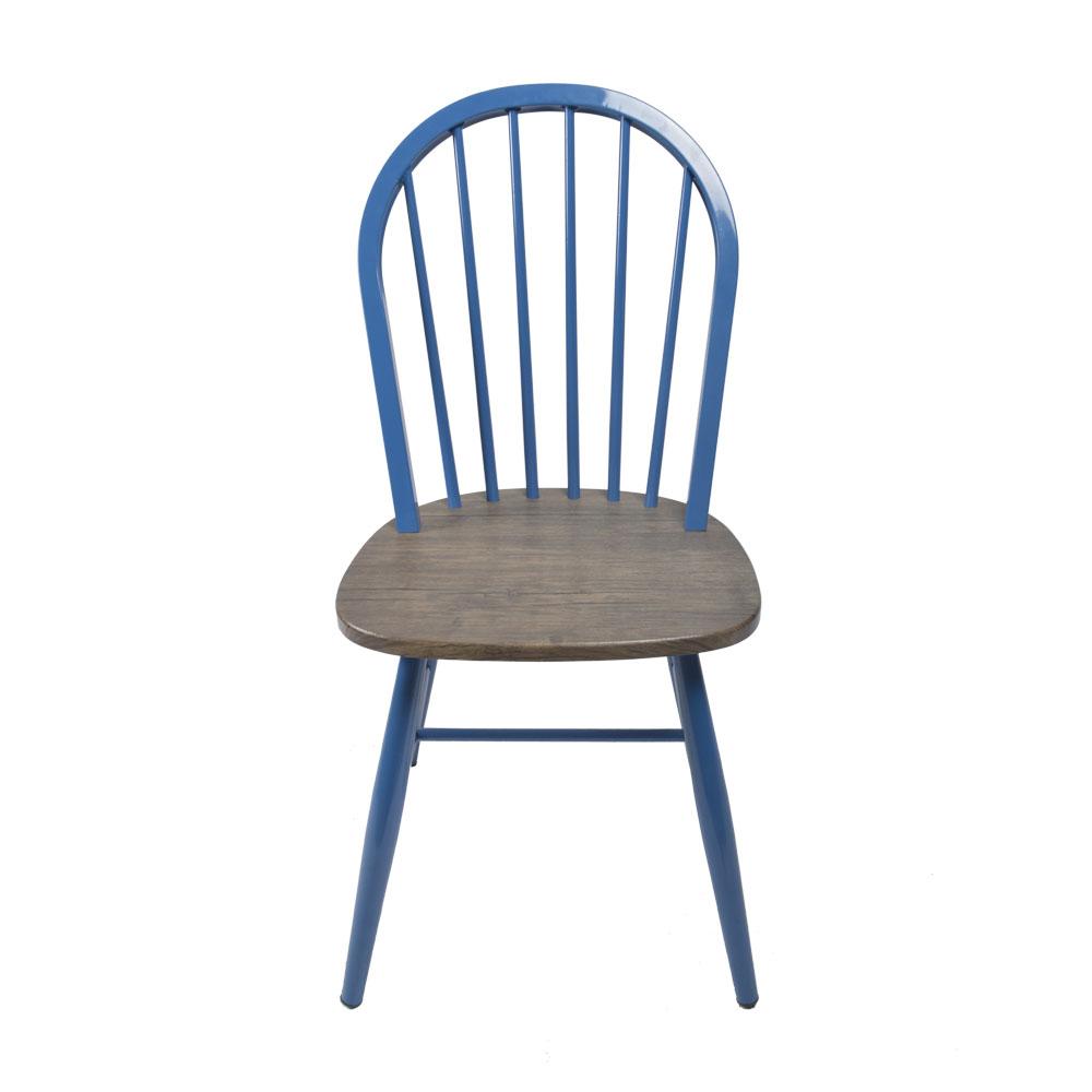 Silla de metal azul con asiento de madera de 48x46x92cm