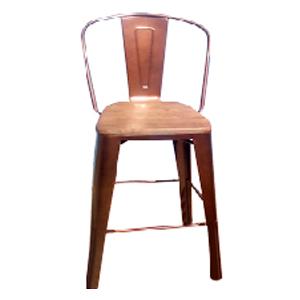 Silla para bar  de metal con asiento de madera color cobre viejo de 37x36x110 cm