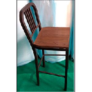 Silla de bar de metal con asiento de madera 40X40X105cm