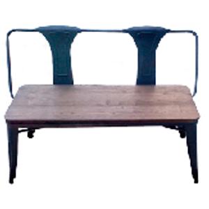 Banca de metal con asiento de madera de 78x48x110