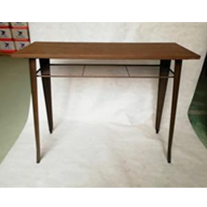 Mesa rectangular para bar de metal con cubierta de madera de 120x50x103cm