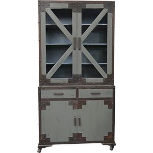 Alacena de metal diseño industrial con remaches con 4 puertas y 2 cajones de 105x45x206cm