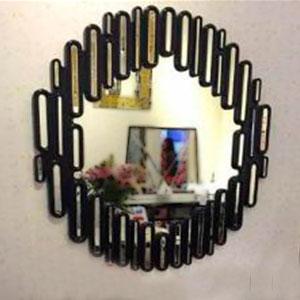 Espejo redondo con marco negro diseño rectangulos con con espejos de 120x3.3cm