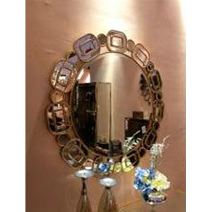 Espejo redondo de madera diseño cadenas de 100x14cm