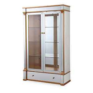 Vitrina de madera con 2 puertas totalmente forrado de espejos de 120x45x200cm