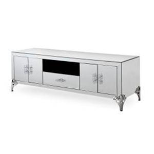 Mueble para TV de madera forrado de espejos con 4 puertas y un cajón de 180x50x60.5cm