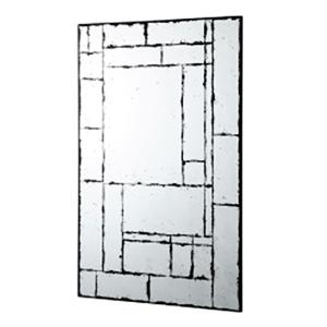 Espejo de pared diseño rectangulos y cuadros terminado antiguo de 106.8x71x16