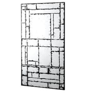 Espejo de pared diseño rectangulos y cuadros terminado antiguo de 120x70x16