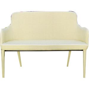 Loveseat de tela en color beige con costura blanca de 115x50x47cm