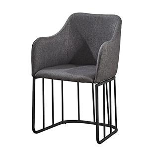 Silla de tela con descansabrazos gris con base de metal negra