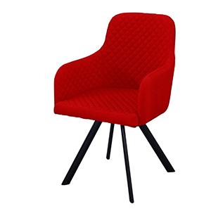 Silla de tela con descansabrazos diseño rombos rojo con patas de metal negras