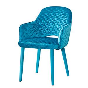 Silla de Terciopelo con descansabrazos azul turquesa botella de 89x61x48cm
