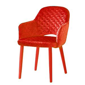 Silla de Terciopelo con descansabrazos roja de 89x61x48cm