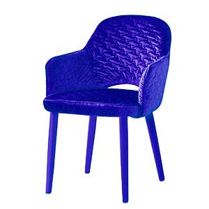 Silla de Terciopelo con descansabrazos violeta de 89x61x48cm