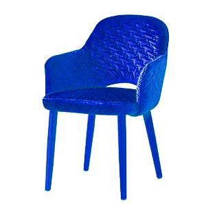 Silla de Terciopelo con descansabrazos azul de 89x61x48cm